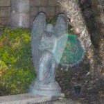 44) A beautiful green ethereal orb lighting up my angel's wing
